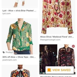 In search of Alice Olivia green blouse